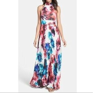 Eliza J Floral Halter Pleated Maxi Dress